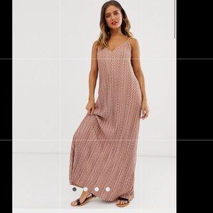ASOS plisse plunge cami maxi dress in polka dot